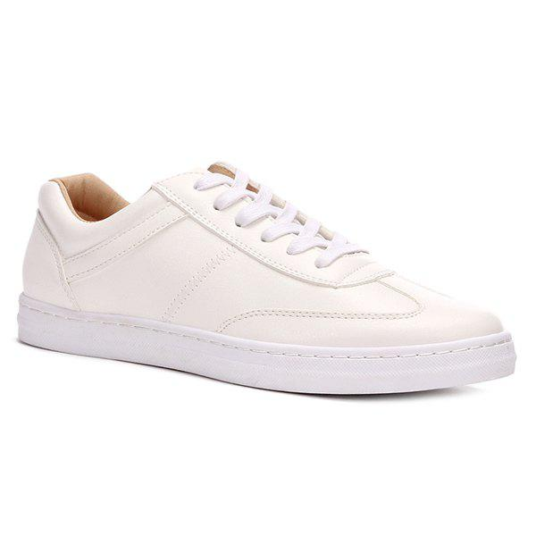 Chic Simple Lace-Up and PU Leather Design Casual Shoes For Men