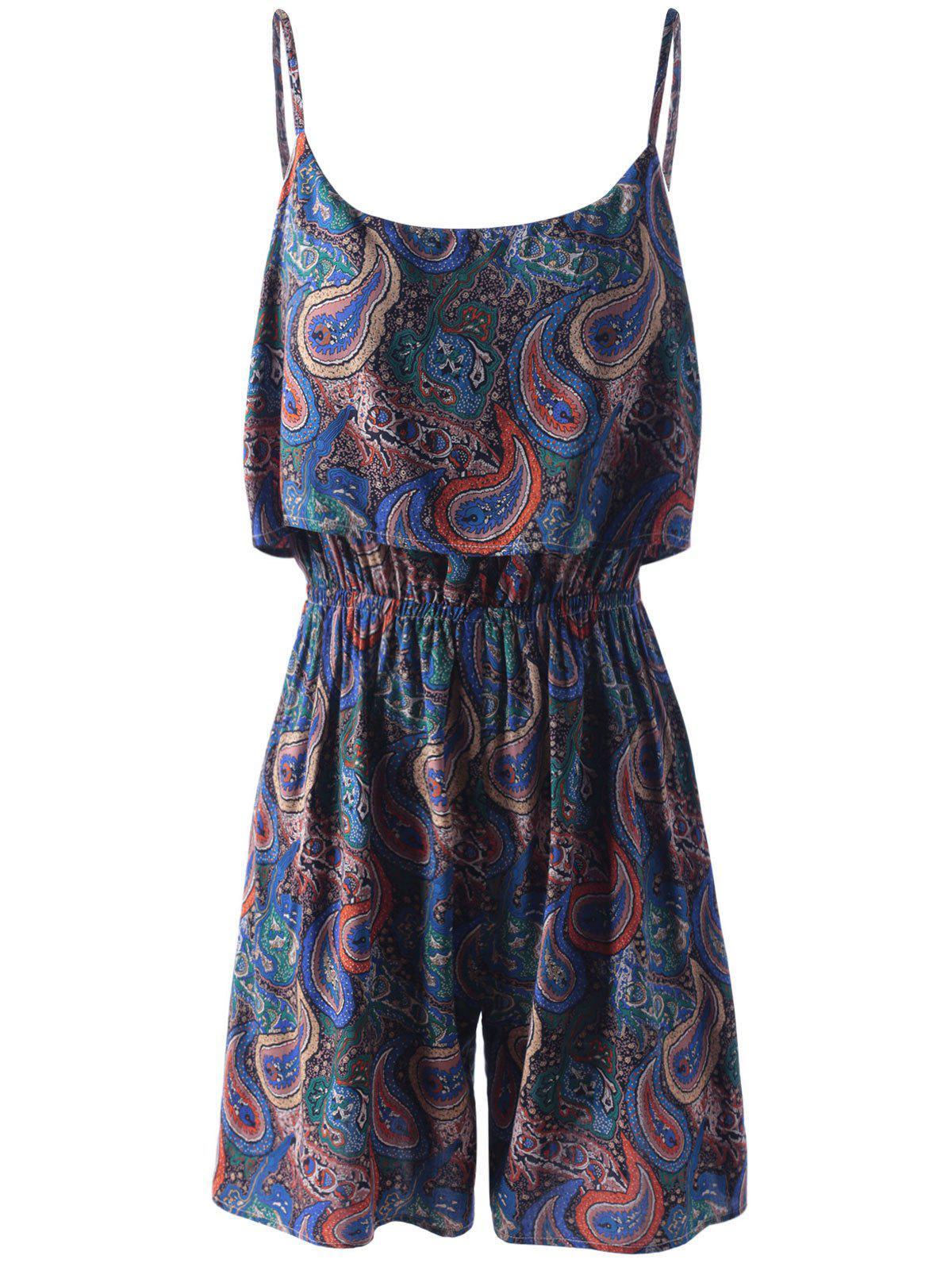 Outfits Spaghetti Strap Flounce Floral Paisley Romper