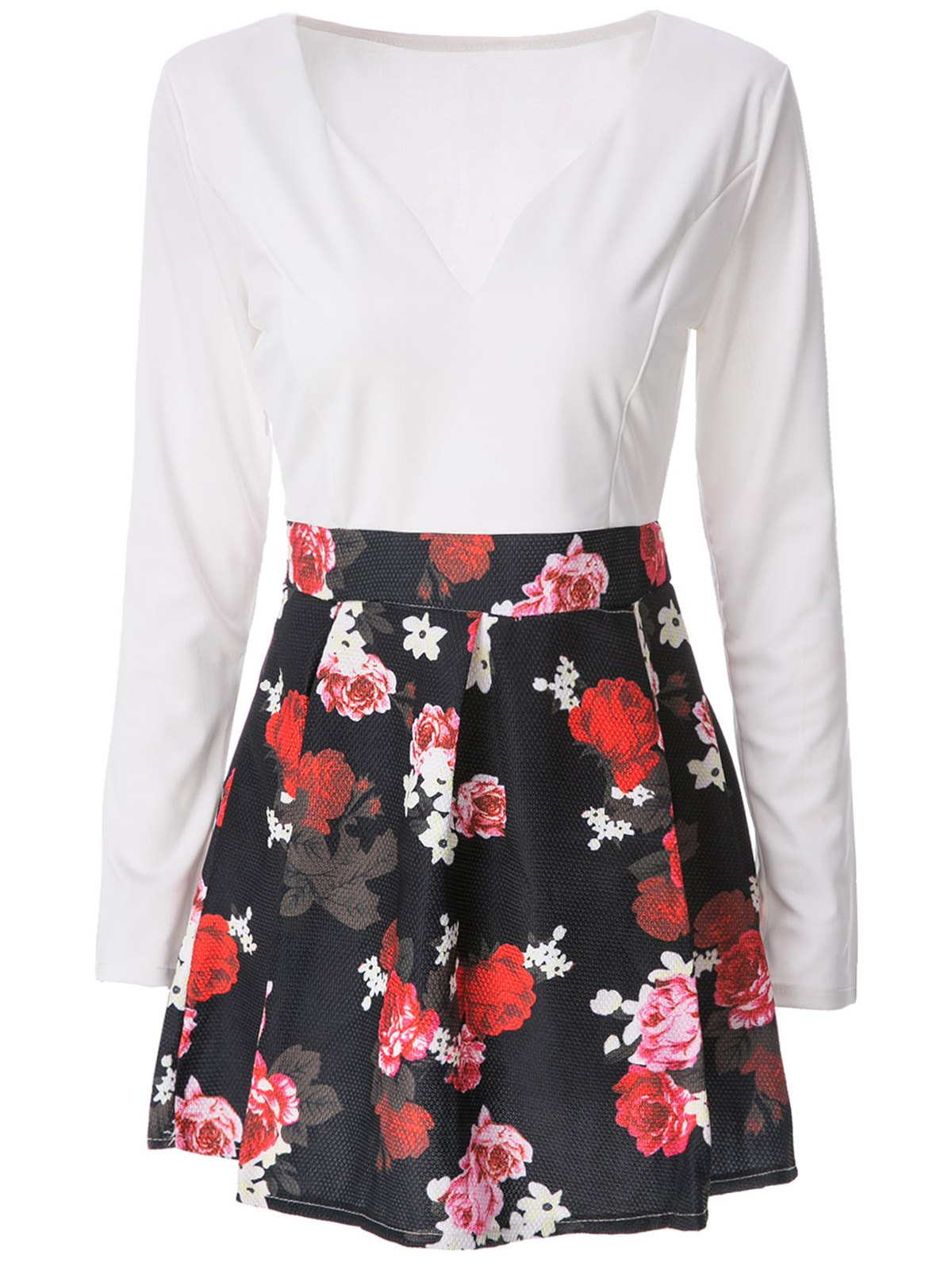 Trendy Mini Floral Long Sleeve Flare Dress