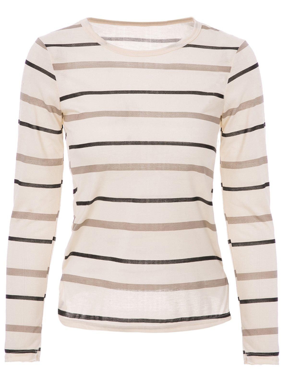 Outfit Fashionable Scoop Neck Long Sleeve Striped T-Shirt For Women