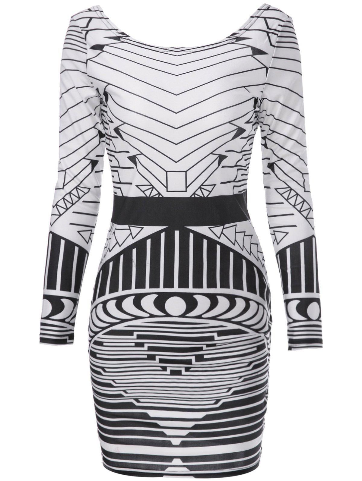 Buy Sexy Scoop Neck Long Sleeve Geometric Bodycon Backless Women's Dress