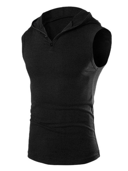 New Casual Hooded Solid Color Tank Top For Men