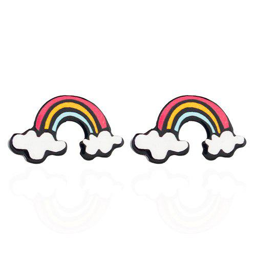 Pair of Sweet Rainbow Earrings For WomenJEWELRY<br><br>Color: WHITE; Earring Type: Stud Earrings; Gender: For Women; Style: Trendy; Shape/Pattern: Others; Weight: 0.030kg; Package Contents: 1 x Earring (Pair);