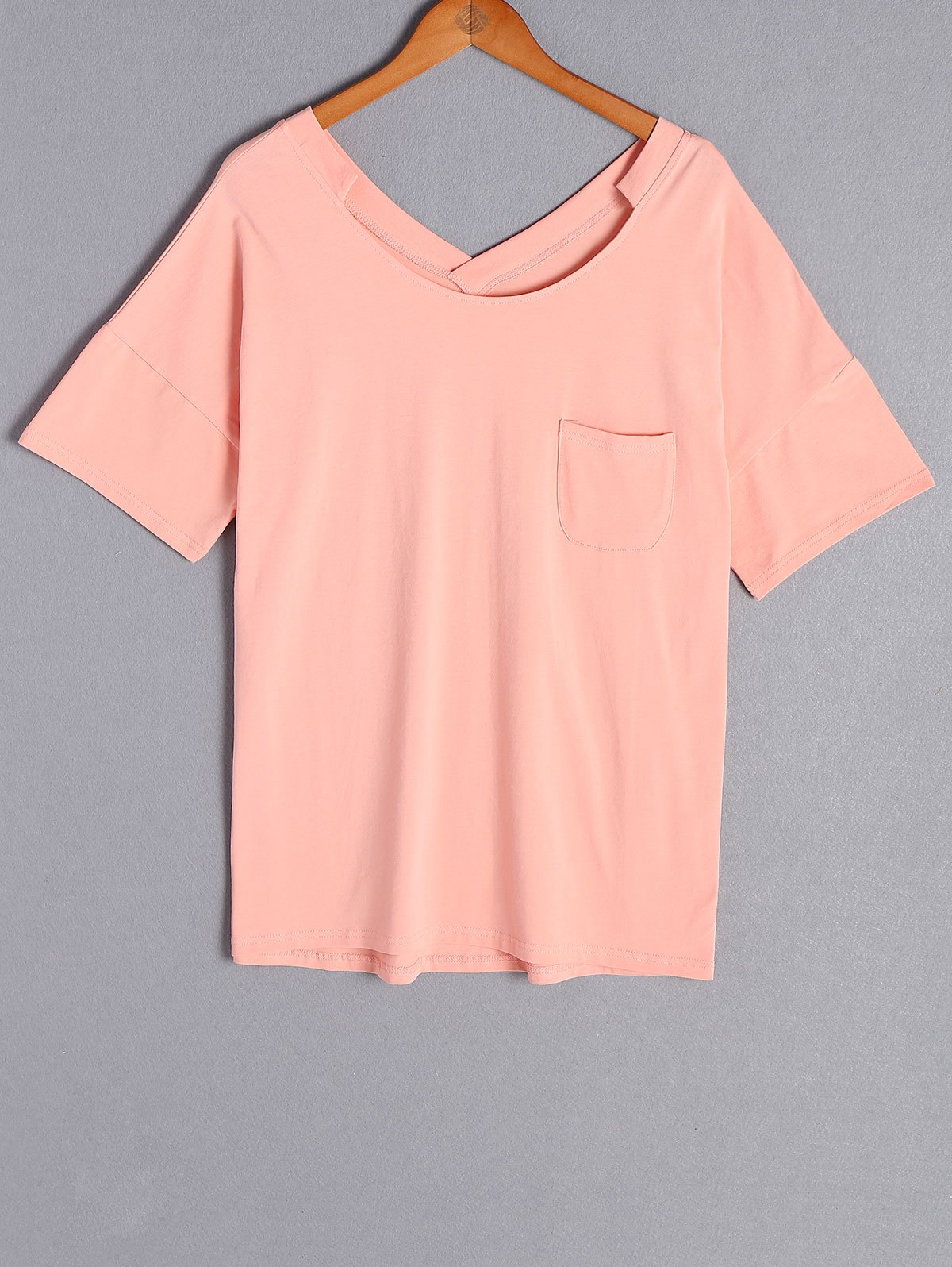 Outfit Casual Scoop Neck Pure Color Short Sleeve Plus Size T-Shirt For Women