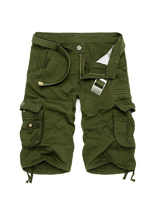 Zipper Fly Cotton Blends Multi-Pockets Straight Leg Cargo Shorts For MenMEN<br><br>Size: 38; Color: ARMY GREEN; Style: Fashion; Length: Short; Material: Cotton Blends; Fit Type: Regular; Waist Type: Mid; Closure Type: Zipper Fly; Front Style: Pleated; With Belt: No; Weight: 0.3840kg; Package Contents: 1 x Shorts;