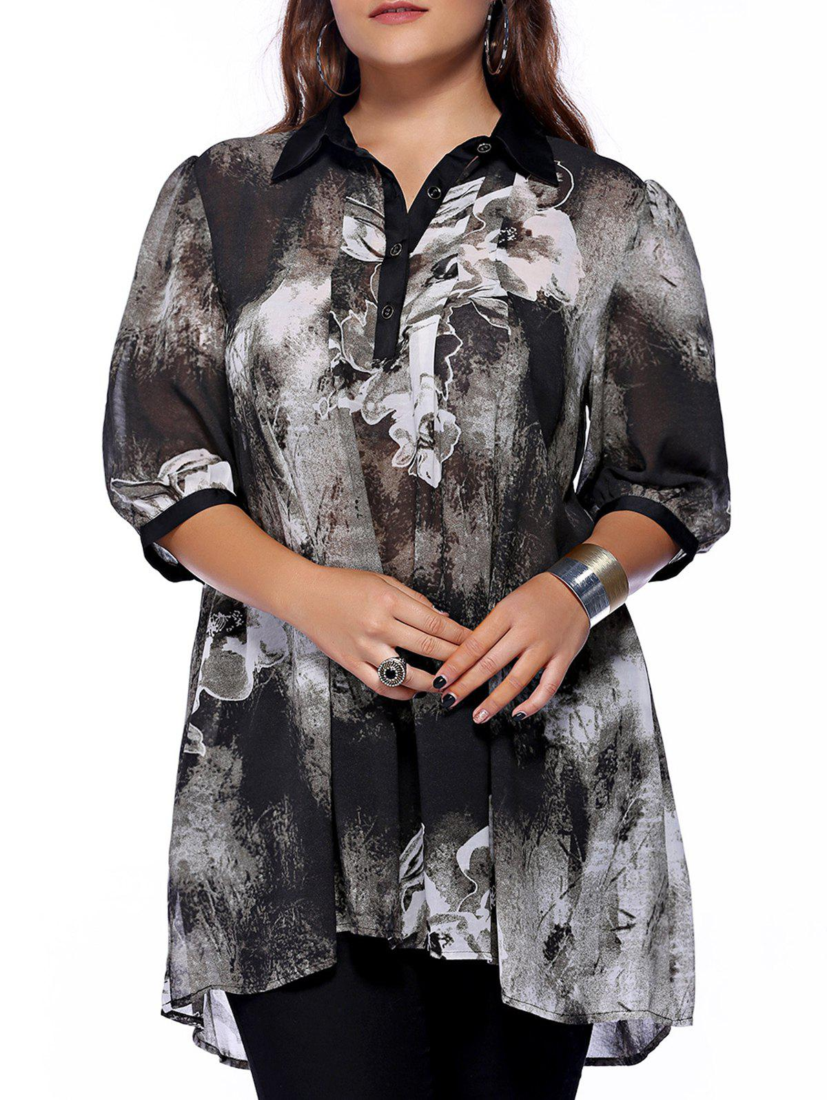 Plus Size Brief Ink Painting Buttoned BlouseWOMEN<br><br>Size: XL; Color: BLACK; Material: Polyester; Shirt Length: Long; Sleeve Length: Half; Collar: Shirt Collar; Style: Fashion; Season: Spring,Summer; Embellishment: Button; Pattern Type: Floral; Weight: 0.2100kg; Package Contents: 1 x Blouse;