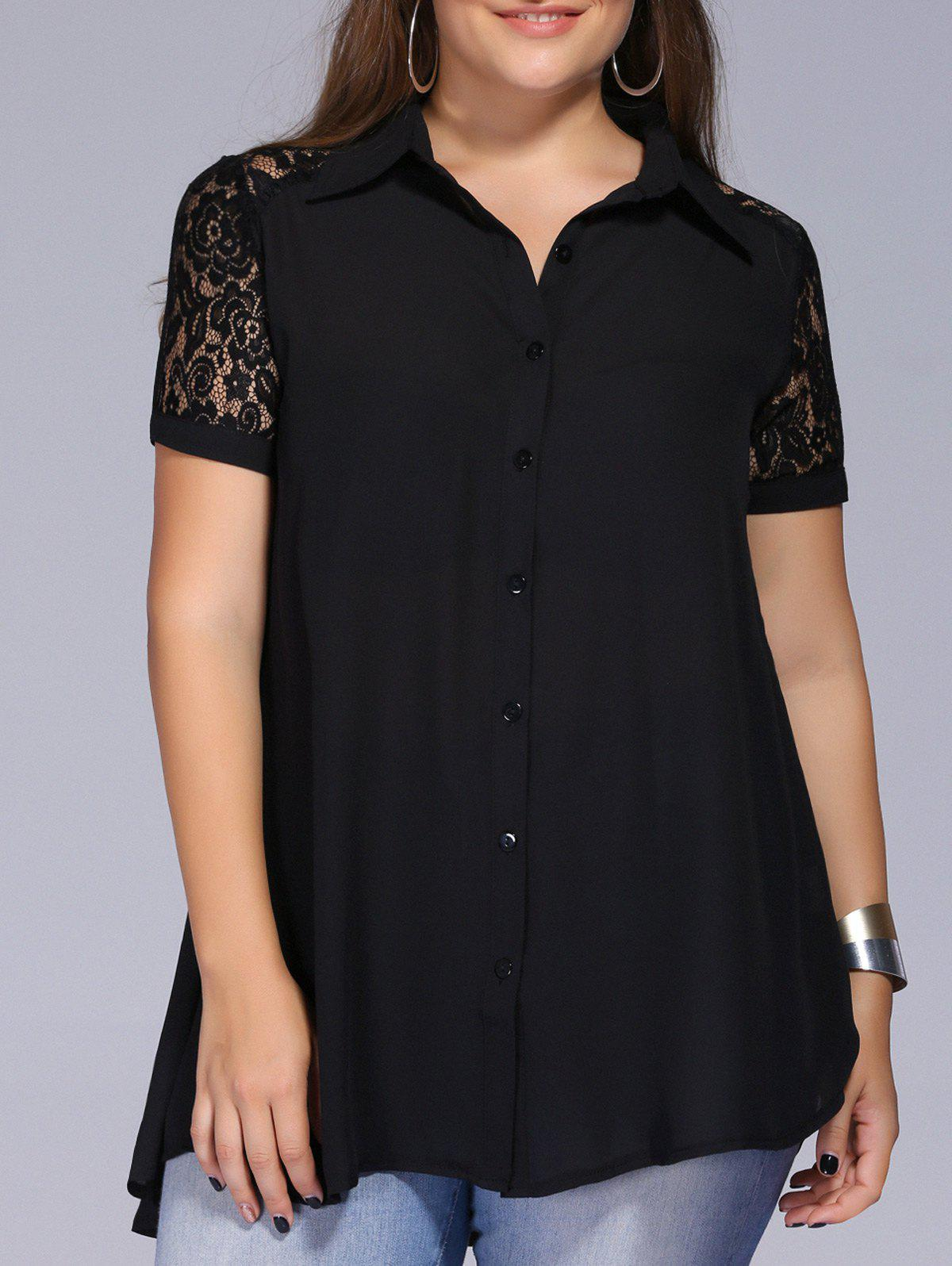 Lace Trim Plus Size Tunic BlouseWOMEN<br><br>Size: 3XL; Color: BLACK; Material: Acetate,Spandex; Shirt Length: Long; Sleeve Length: Short; Collar: Shirt Collar; Style: Fashion; Season: Spring,Summer; Embellishment: Lace; Pattern Type: Solid; Weight: 0.235kg; Package Contents: 1 x Blouse;