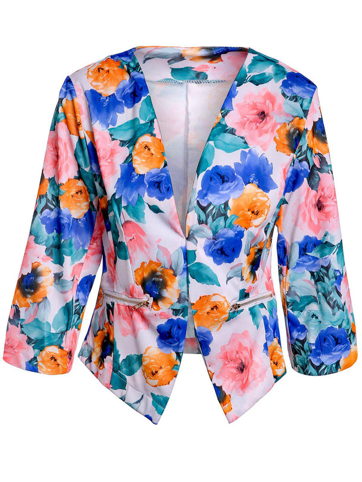 Unique Full Floral Print Zip Pocket Blazer