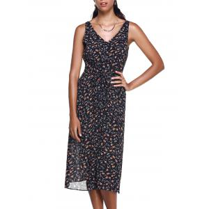 Fashionable Small Broken Flower V-Neck  Meadow Maxi Dress