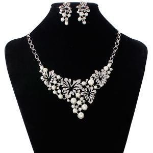 A Suit of Fake Pearl Flower Necklace and Earrings