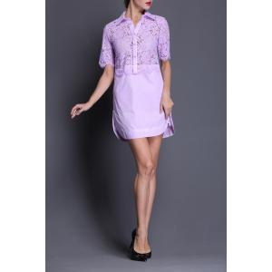 Lace Splicing Straight Shirt Dress -