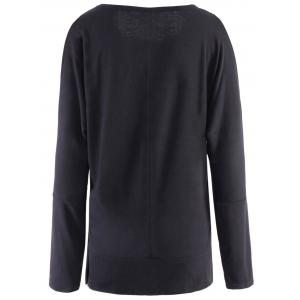 Stylish Scoop Neck Long Sleeve Cut Out Solid Color Women's T-Shirt -