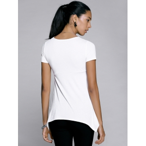 V-Neck Twist Asymmetric T-Shirt -