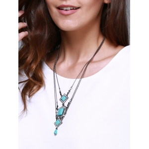 Rhombus Oval Faux Turquoise Multilayered Necklace - TURQUOISE