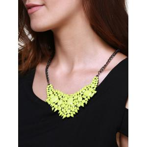 Geometric Faux Gem Embellished Pendant Necklace - NEON GREEN