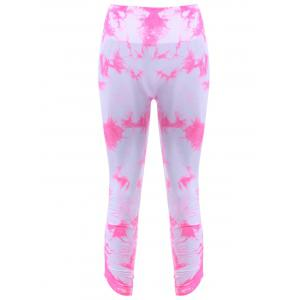 Active Elastic Waist Tie Dyed Women's Cropped Leggings - Pink - S
