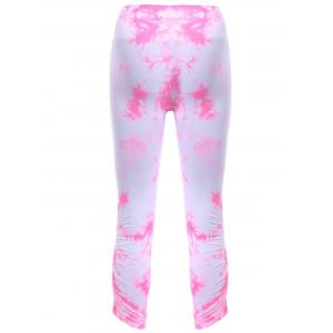 Active Elastic Waist Tie Dyed Women's Cropped Leggings - PINK XL