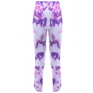 Sports Elastic Waist Tie Dyed Women's Cropped Leggings - Purple - S