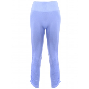 Sports Elastic Waist Solild Color Women's Cropped Leggings - Light Blue - S