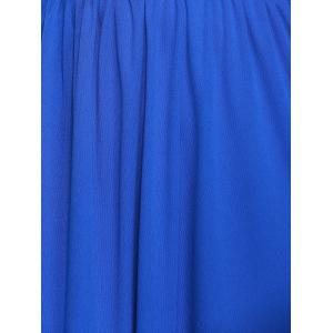 Empire Waist Plunging Neck Maxi Formal Dress - SAPPHIRE BLUE XL