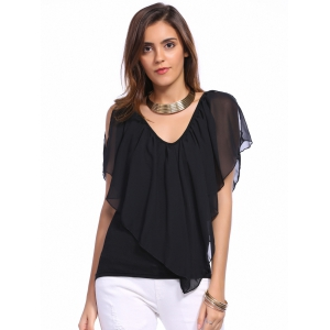 V Neck Cold Shoulder Overlay Chiffon Blouse -