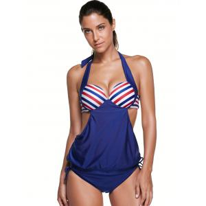 Halter Stripe Push Up Backless Underwire Padded Tankini