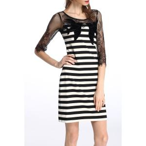 Lace Splicing Striped Dress -