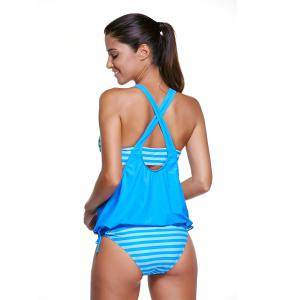 Low Cut Striped Tankini Set Swimsuit - LAKE BLUE 2XL
