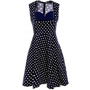 Sweet Sweetheart Neck Polka Dot Print Sleeveless Dress For Women