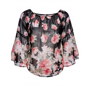 Sweet Off-The-Shoulder Floral Print Long Sleeve Blouse For Women