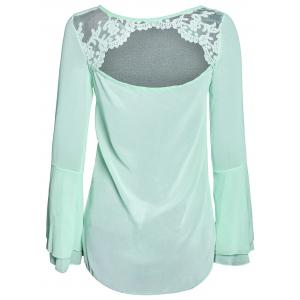 Stylish Scoop Neck Lace Spliced Backless Two-Piece Flare Sleeve Blouse For Women -