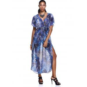 Elegant Plunging Neck Robes Soft Chiffon Dress With Short Sleeves - BLUE L