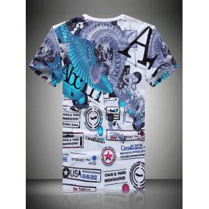 Casual Letters Printing T-Shirt For Men - COLORMIX 2XL