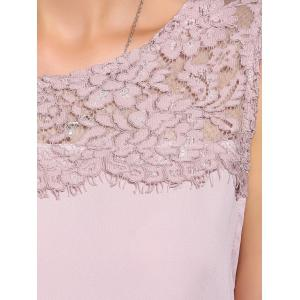 Sweet Button Back Lace Splicing Chiffon Women's Tank Top -