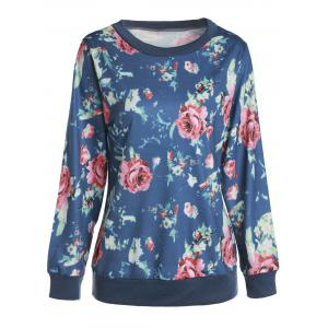 Trendy Round Collar Long Sleeve Floral Print Women's Sweatshirt