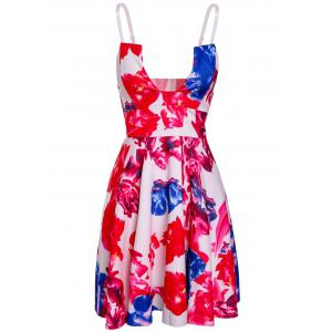 Trendy Spaghetti Strap Open Back Floral Print Women's Dress - Colormix - M