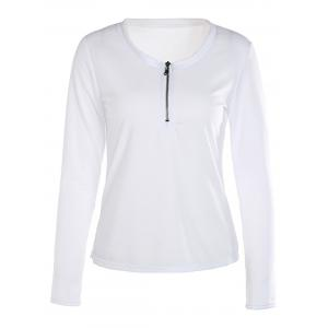 Trendy White Scoop Neck Zippered Long Sleeve T-Shirt For Women