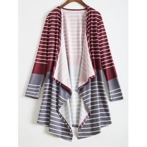 Trendy Collarless Long Sleeve Stripe Asymmetrical Women's Cardigan