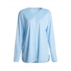 Simple V Neck Long Sleeve Pure Color Asymmetrical Women's T-Shirt