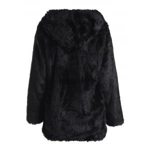 Noble Hooded Long Sleeve Black Faux Fur Women's Coat -
