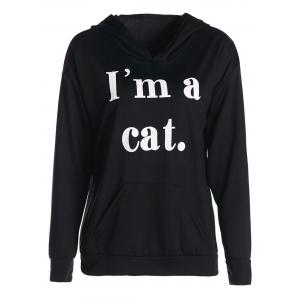 Stylish Hooded Long Sleeve Letter Print Pocket Design Women's Hoodie