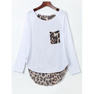 Stylish Jewel Neck Long Sleeve Leopard Spliced Slit Women's T-Shirt - White - M