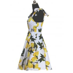 Refreshing Women's Bowknot Design Lemon Pattern Pleated Dress -