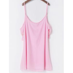 Casual Spaghetti Strap 3/4 Sleeve Backless Solid Color Women's Dress - PINK L