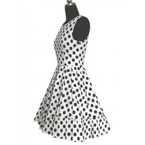 Refreshing Women's Polka Dot Pleated Dress -