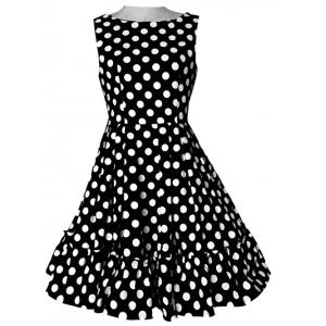 Refreshing Women's Polka Dot Pleated Dress