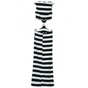 Maxi Striped Cut Out Sleeveless Summer Dress -