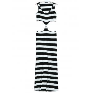 Maxi Striped Cut Out Sleeveless Summer Dress