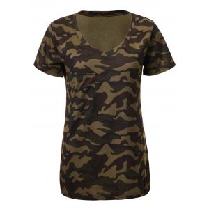 Army Camouflage Print Short Sleeve V-Neck T-Shirt