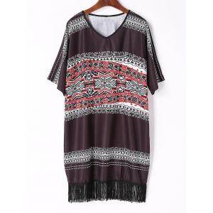 Chic V Neck Half Sleeve Printed Fringed Women's Dress